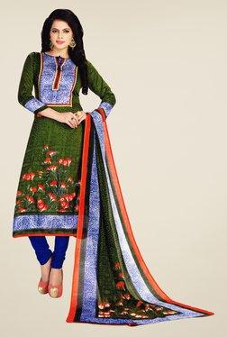 Salwar Studio Green & Blue Floral Print Dress Material