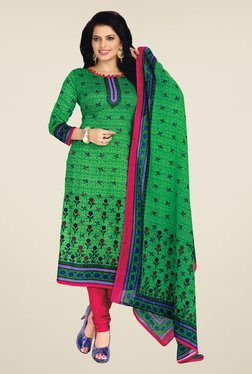 Salwar Studio Green & Pink Floral Print Dress Material - Mp000000000553184