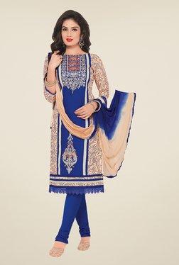 Salwar Studio Beige & Blue Embroidered Dress Material