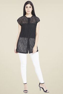 Globus Black Lace Tunic Top