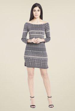 Globus Black & White Polyester Printed Dress