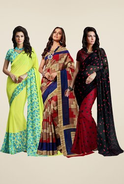 Shonaya Lime, Rust & Red Printed Saree (Pack Of 3)