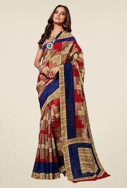 Shonaya Rust Printed Bhagalpuri Silk Saree