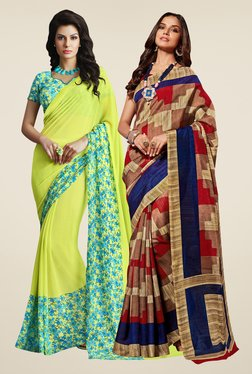 Shonaya Lime & Rust Printed Saree (Pack Of 2)