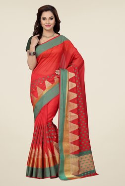 Ishin Red Embroidered Kora Silk Saree