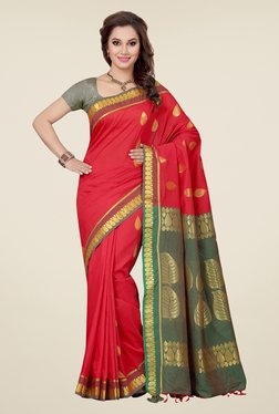 Ishin Red & Green Embroidered South Silk Saree