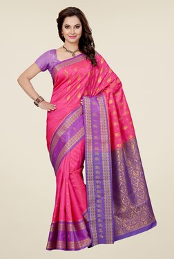 Ishin Pink & Purple Embroidered Satin Silk Saree