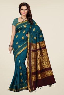 Ishin Teal & Maroon Embroidered South Silk Saree