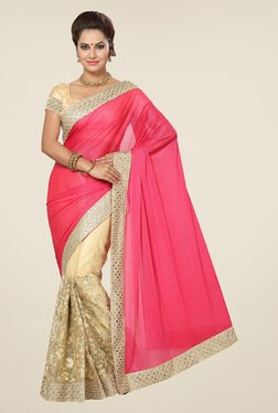 Ishin Beige & Pink Embroidered Lycra Net Saree