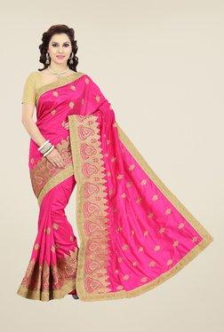 Ishin Pink Embroidered Art Silk Saree