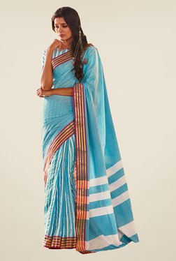 Ishin Sky Blue Striped Poly Cotton Saree