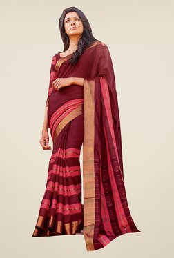 Ishin Maroon Striped Poly Cotton Free Size Saree