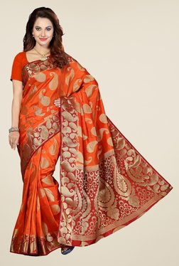 Ishin Orange & Red Paisley Print Poly Silk Saree