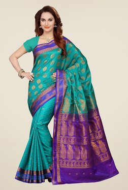 Ishin Green & Blue Printed Cotton Satin Saree