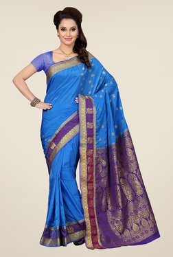 Ishin Blue & Purple Embroidered Art Silk Saree