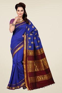 Ishin Blue & Maroon Embroidered Free Size Saree