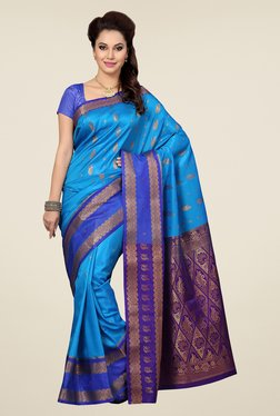 Ishin Blue & Purple Embroidered Satin Silk Saree