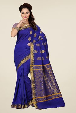 Ishin Blue Embroidered South Silk Saree