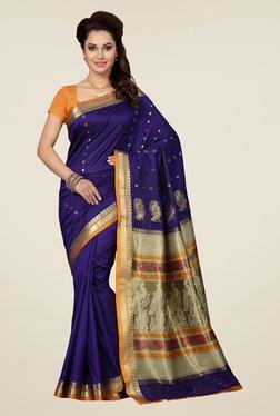 Ishin Blue & Beige Embroidered Art Silk Saree