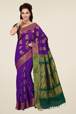 Ishin Purple & Green Embroidered South Silk Saree