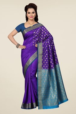 Ishin Purple & Blue Paisley Print Satin Silk Saree