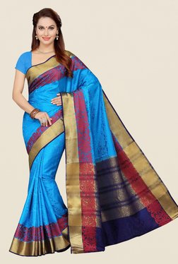 Ishin Blue Floral Print Poly Silk Saree