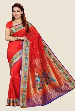 Ishin Orange Printed Art Silk Saree