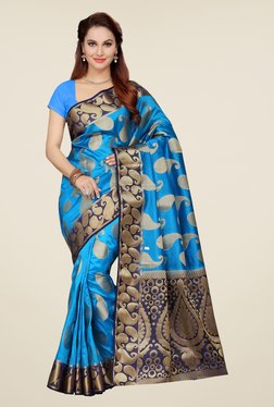 Ishin Blue Paisley Print Poly Silk Saree
