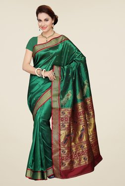 Ishin Green Printed Art Silk Saree