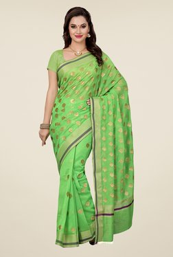 Ishin Green Embroidered Kora Silk Saree