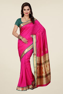 Ishin Pink & Beige Embroidered Art Silk Saree