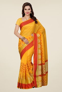Ishin Yellow Embroidered Kora Silk Saree