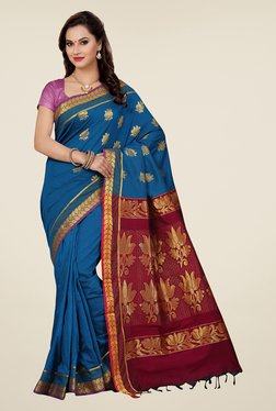 Ishin Blue & Maroon Embroidered South Silk Saree