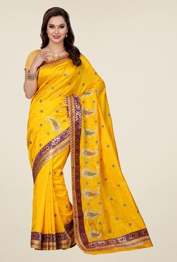 Ishin Yellow Embroidered Raw Silk Saree