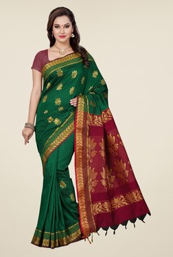 Ishin Green & Maroon Embroidered South Silk Saree