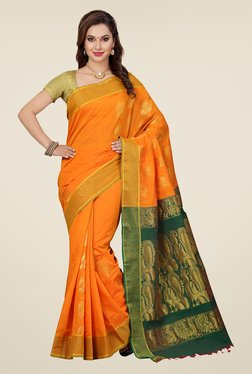 Ishin Orange & Green Embroidered South Silk Saree