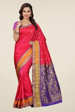 Ishin Coral & Purple Embroidered Art Silk Saree