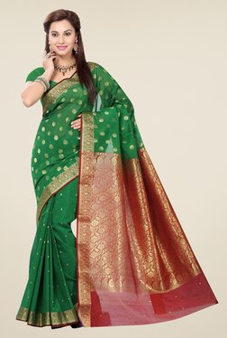 Ishin Green & Maroon Cotton Saree
