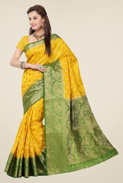 Ishin Yellow & Green Embroidered Tussar Silk Saree
