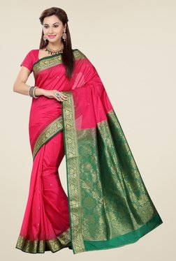 Ishin Pink & Green Embroidered Poly Silk Saree