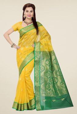 Ishin Yellow & Green Embroidered Cotton Saree