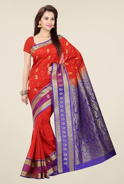Ishin Red & Blue Embroidered Poly Silk Saree
