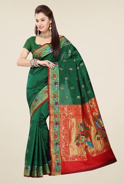 Ishin Green & Red Embroidered Poly Silk Saree