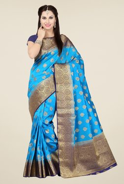 Ishin Blue Embroidered Tussar Silk Saree