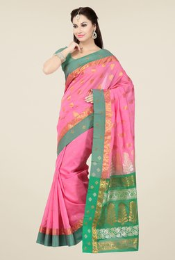Ishin Pink & Green Embroidered Cotton Saree