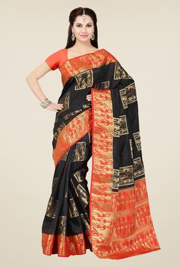 Ishin Black & Red Embroidered Tussar Silk Saree