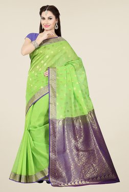 Ishin Green & Purple Embroidered Cotton Saree
