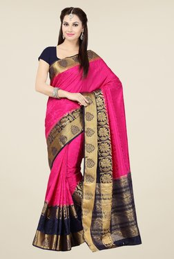 Ishin Pink & Navy Embroidered Tussar Silk Saree
