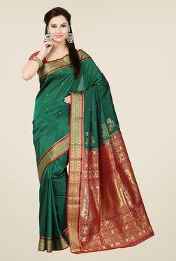 Ishin Green & Maroon Tussar Silk Free Size Saree