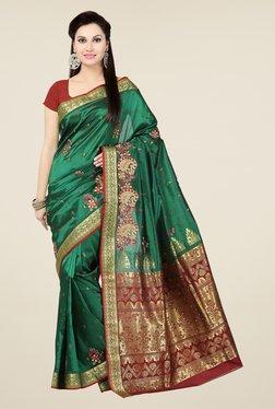 Ishin Green & Maroon Poly Silk Free Size Saree